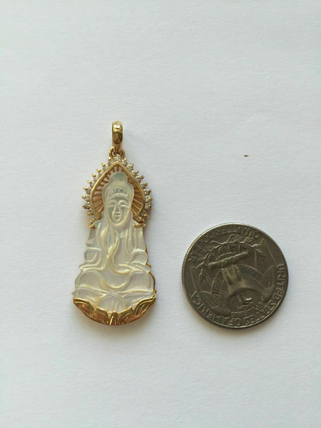 NEW 14K Solid Yellow Gold Kwan Yin Lady Buddha Shell Pearl Religious Pendant