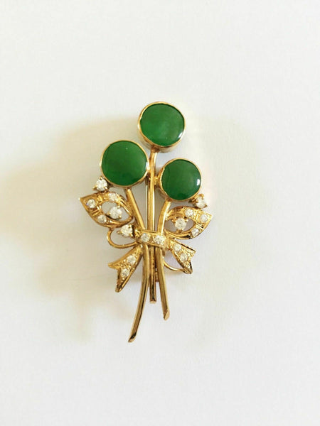 NWT 14K Solid Yellow Gold Flower Roound Green Jade Brooch Pin
