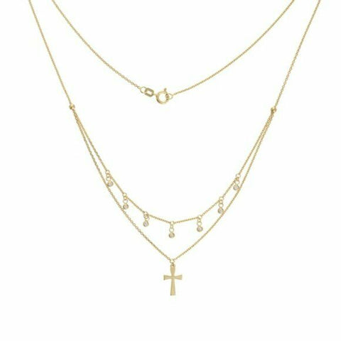 14K Solid Yellow Gold Diamond Layer Double Strand Dangle Drop Cross Necklace