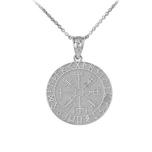 925 Silver Vegvisir Protection Runes Viking Compass Icelandic Pendant Necklace