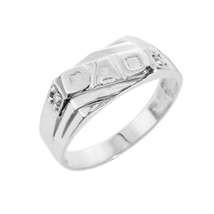 "925 Sterling Silver Men's Diamonds ""DAD"" Ring All / Any Size -  Father's Day"