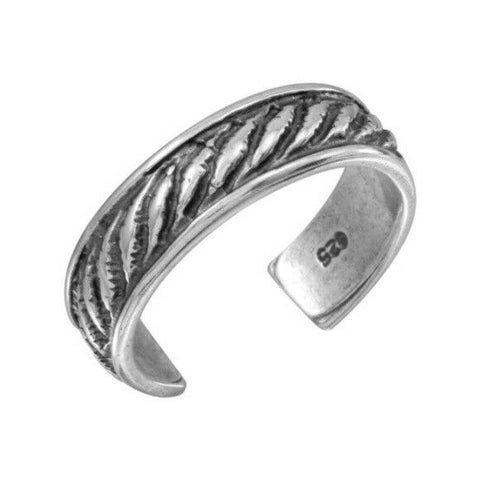 925 Sterling Silver Rope Design Oxidized Adjustable Toe Ring / Finger Ring