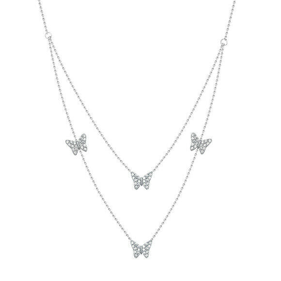 "NWT 925 Sterling Silver Butterflies Strand Layer Necklace Adjustable 16""-18"""