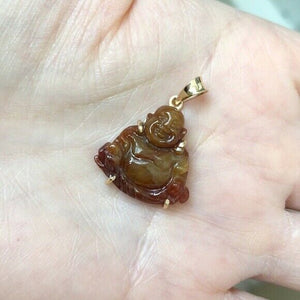18K Solid Gold Happy Laughing Buddha Natural Red Jade Pendant -601 Small kids sz