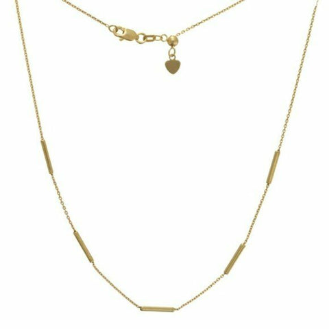 14K Solid Yellow Gold 5 Pc Square Wire Station Choker Necklace Adjustable 16""