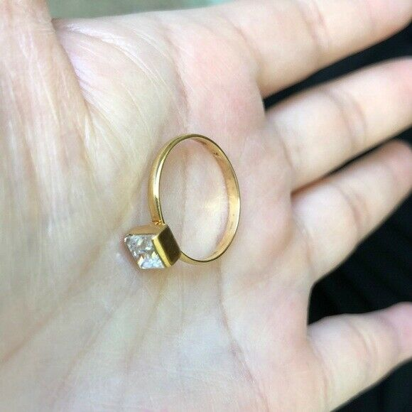 NWOT 14K Yellow Gold Square CZ Women/Gril Ring Size 6.5