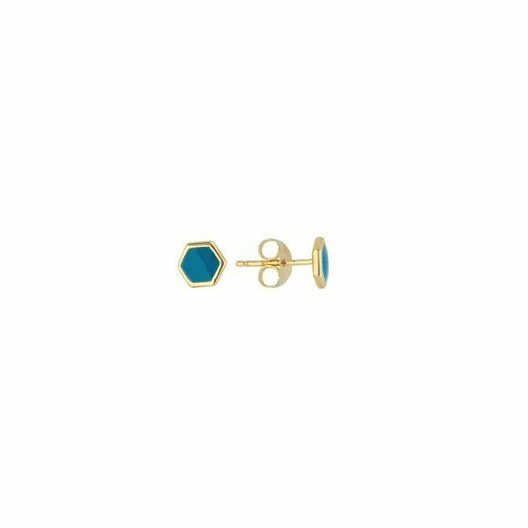 14K Solid Gold Turquoise Enamel Mini Stud Hexagon Shape Earrings -Minimalist