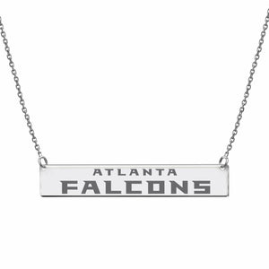 Licensed NFL Atlanta Falcons Engraved Geometric Bar Necklace Sterling Silver