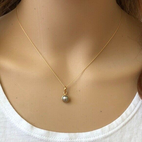"14K Solid Yellow Gold Mini Pearl Pendant Dainty Necklace - Minimalist 16""-18"""