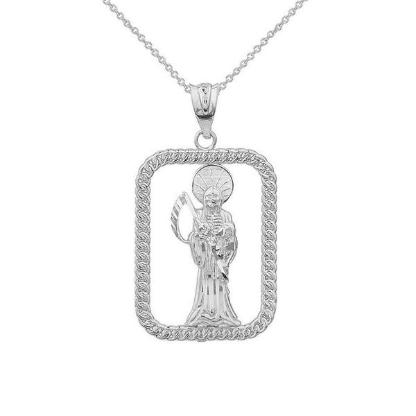 Sterling Silver Santa Muerte Rectangle Diamond Cut Pendant Necklace Made in US