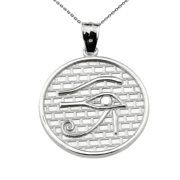925 Sterling Silver The Eye of Horus Round Charm Pendant Necklace (13 Steps)