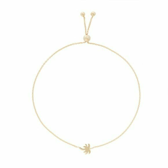 14K Solid Gold Mini Palm Tree Silicone Bracelet Adjustable length - Minimalist