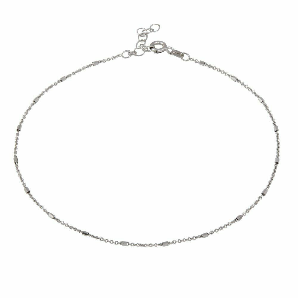 "NEW 925 Sterling Silver DC Tube Link Dainty Anklet 9""-10"" Inches Adjustable"