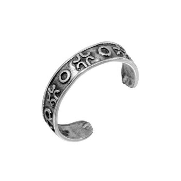 925 Sterling Silver Alternating Circle Adjustable Toe Ring / Finger Ring