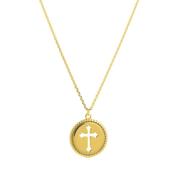 14K Solid Gold Small Disk/Dics Cut Out Cross Religious Necklace - Minimalist