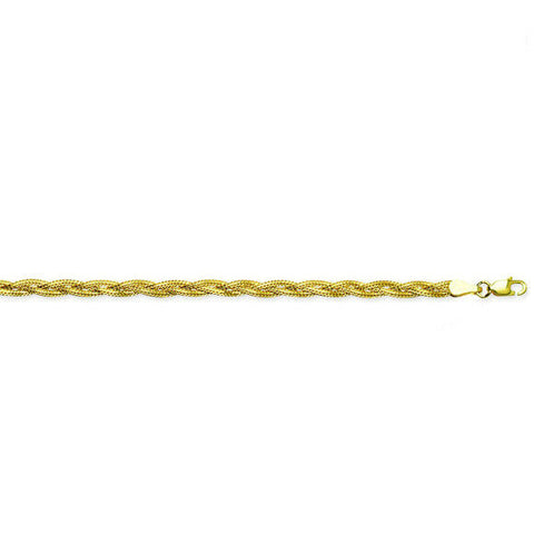 "14K Solid Gold Braided Foxtail Chain Anklet -Yellow 10"" inches -Minimalist"