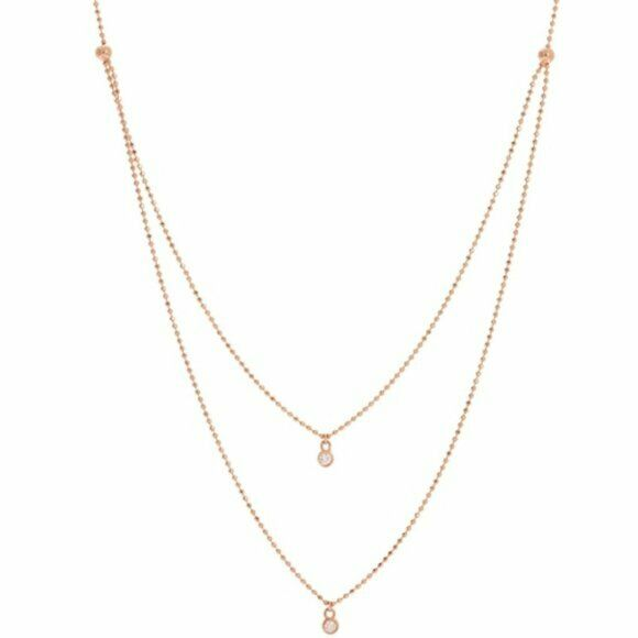 "14K Solid Gold Diamond Layer Double Strand Necklace 16""-18"" Adjustable - Rose"