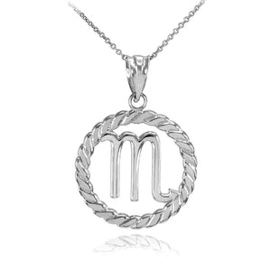 925 Sterling Silver Scorpio Zodiac Sign in Circle Rope Pendant Necklace