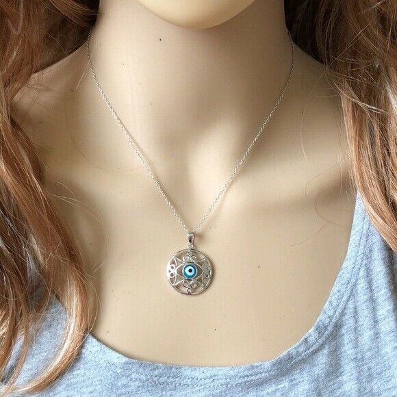 NWT 925 Sterling Silver Rhodium Open Outline Disc Evil Eye CZ Necklace Necklace