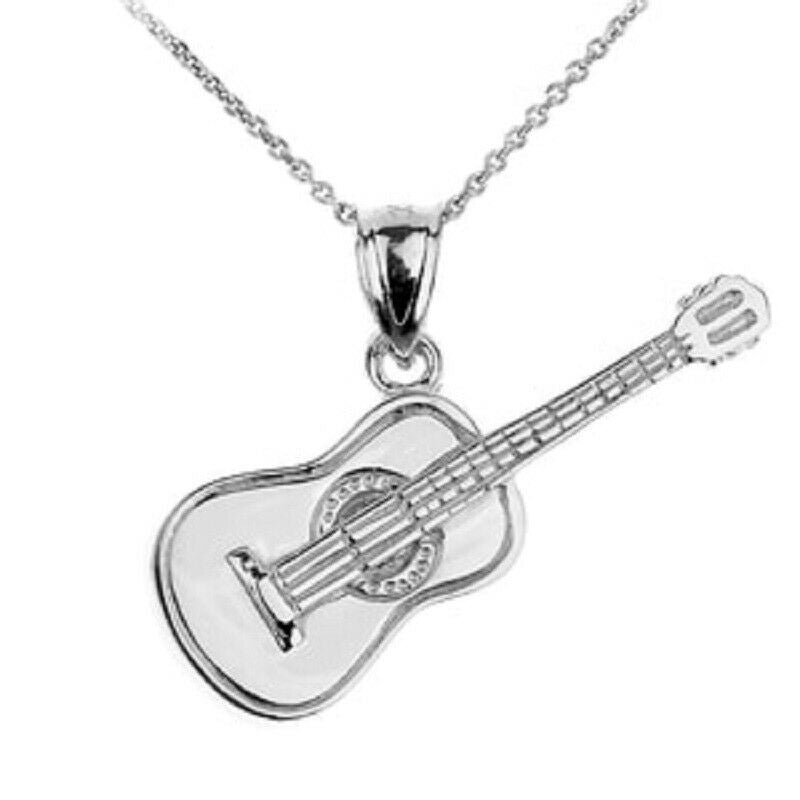 "925 Fine Sterling Silver Acoustic Guitar Pendant Necklace 16,18"",20- Made In USA"