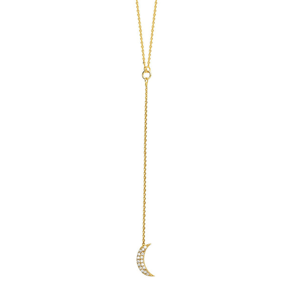 "14K Solid Rose Gold CZ Crecent Moon Lariat Necklace 16""-18"" (White, Yellow)"