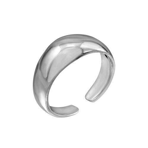Fin Sterling Silver 925 Plain Rounded Adjustable Toe Ring / Finger Ring