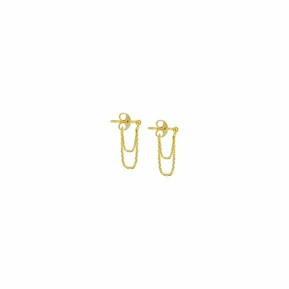 14K Solid Gold Double Drape Front To Back Dainty Stud Earrings - Minimalist