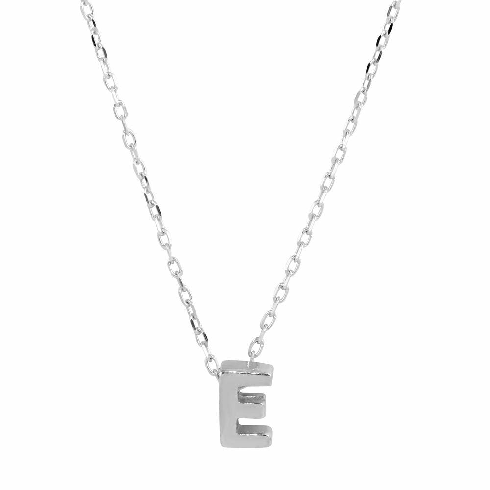 "NWT 925 Sterling Silver Rhodium Plated Small Initial E Necklace 16-18"" adjust"