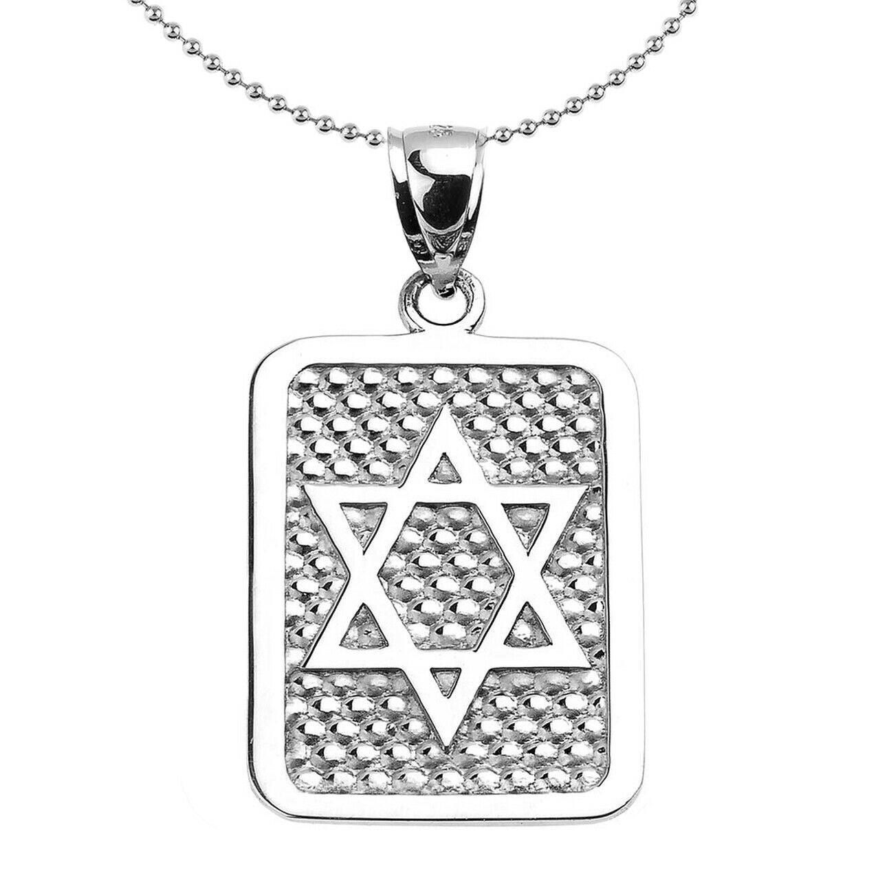 925 Sterling Silver Star of David Engrave Dog Tag Pendant Necklace Made in US