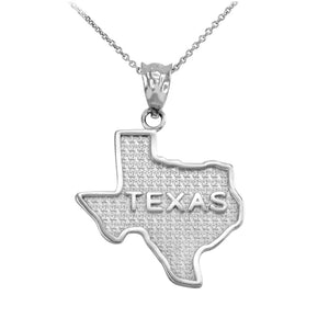 "925 Sterling Silver Texas State Map Pendant Necklace Made in USA 16"",18"",20"",22"
