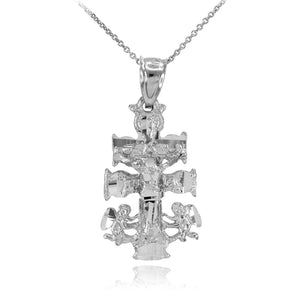 "925 Sterling Silver Caravaca Crucifix Cross Charm Pendant Necklace 16""-22"""