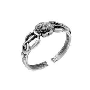 925 Sterling Silver Vine/Curl Flower Adjustable Toe Ring / Finger Ring Oxidized