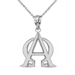 Sterling Silver Christian Alpha and Omega Jesus Christ Symol Pendant Necklace