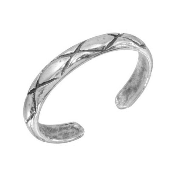 925 Sterling Silver Net Pattern Adjustable Toe Ring / Finger Ring