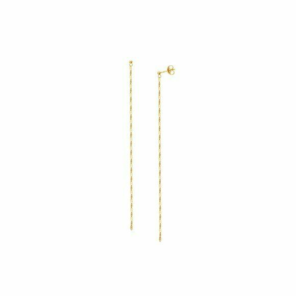 "14K Solid Yellow Gold Dangle Drop Hammered Chain Post Earrings 4.25"" Long"