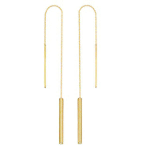 14K Solid Gold Tube Bar Dangle Drop Threader Earrings - Yellow, White