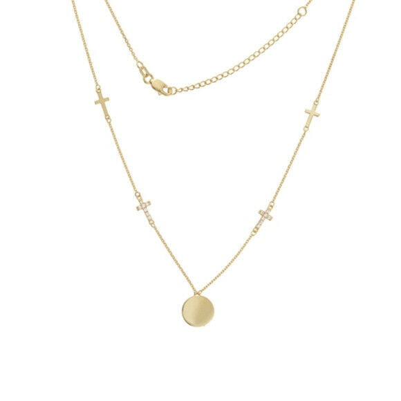 "14K Solid Yellow Gold Disk with Pol Crosses Adjustable Necklace 16""-18"""