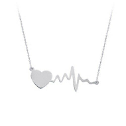 ".925 Sterling Silver Heart Pulse And Life Line Adjustable Necklace 16""-18"""