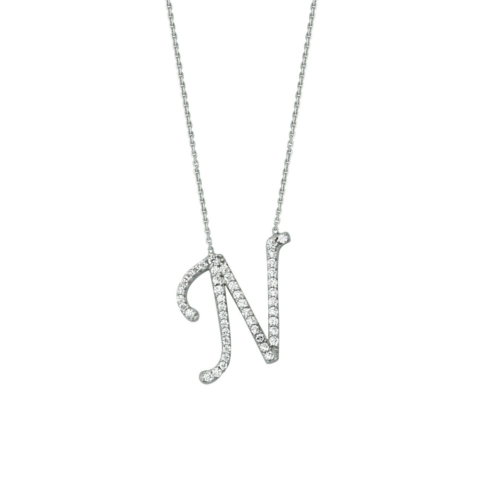 "925 Sterling Silver CZ Initial Letter N Necklace Adjustable 16""-18"" All Letter"