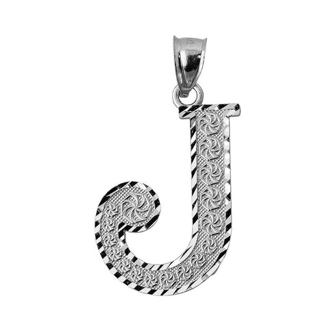 925 Sterling Silver Initial Letter J Pendant Necklace - Large, Medium, Small DC