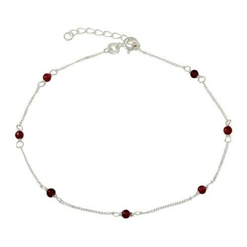 "NEW 925 Sterling Silver Red Beaded Anklet 9""-10"" - Sterling Silver Anklet"