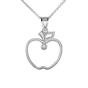 NWT 925 Sterling Silver CZ Outline Apple Pendant Necklace - Made in USA