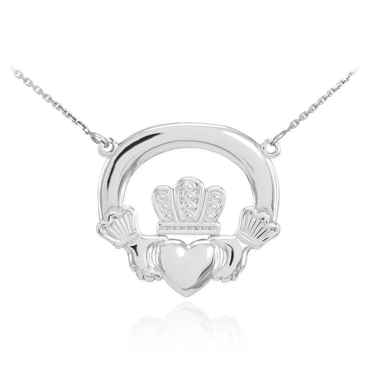 "925 Sterling Silver Classic Irish Claddagh Pendant Necklace -Made in USA 16""-22"""