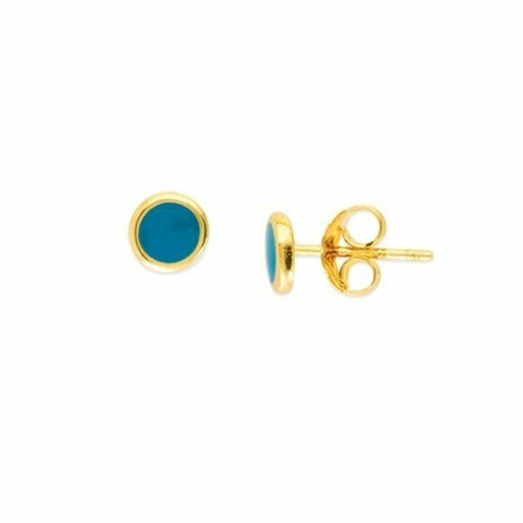 14K Solid Gold Turquoise Enamel Mini Stud Round Circle Earrings -Minimalist