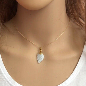 "14K Solid Gold White Grape Jade Pendant Necklace many length Chain16"" 18"" 20"""