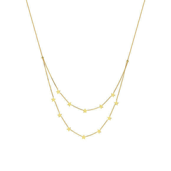"14K Solid Gold Duo Layer Double Strand Multi Stars Adjustable Necklace 16""-18"""
