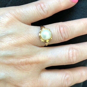 NWOT 14K Yellow Gold Fresh Water Pearl Women/Gril Ring Size 5.5
