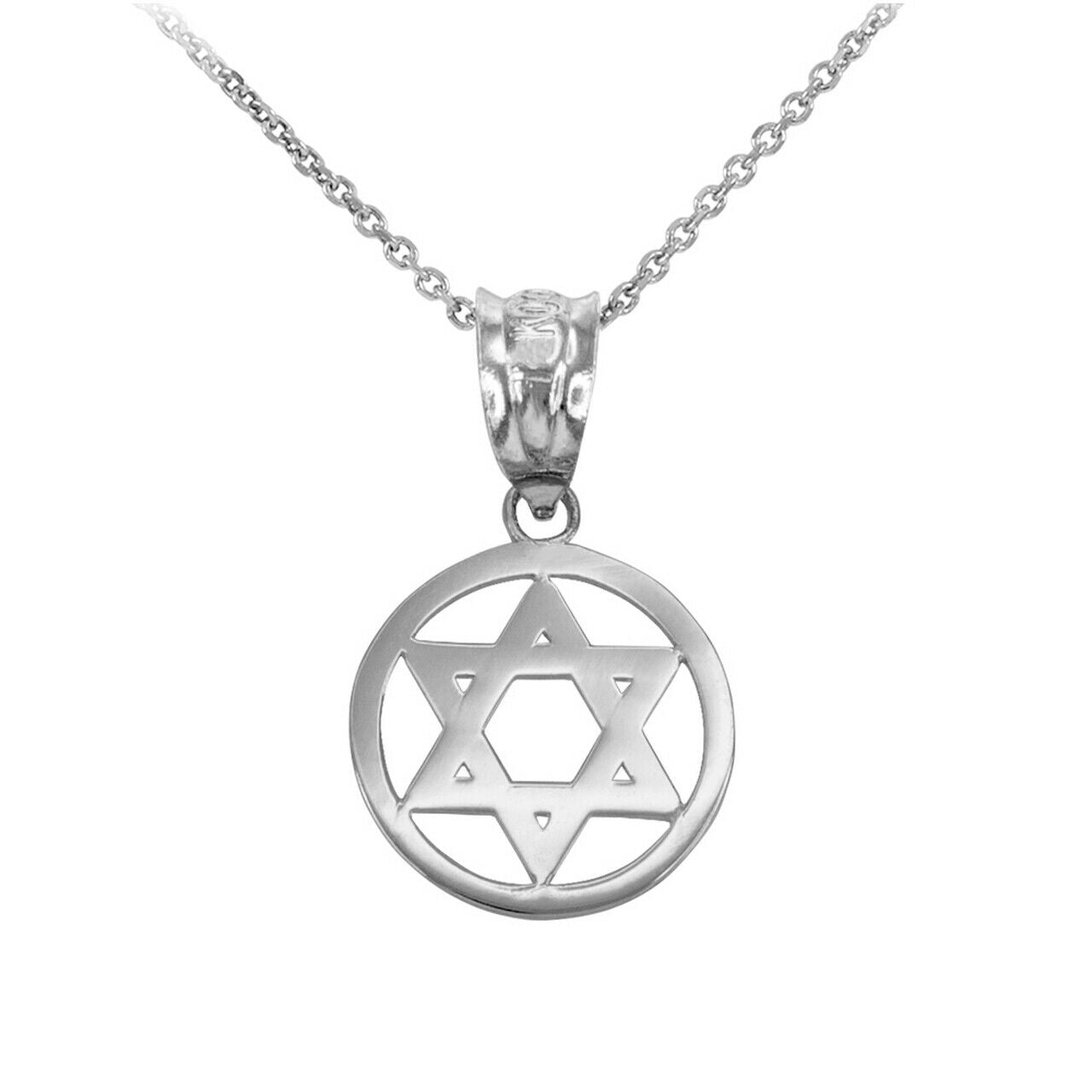 "925 Sterling Silver Encircled Star of David Pendant Necklace 16"" 18"" 20"" 22"""