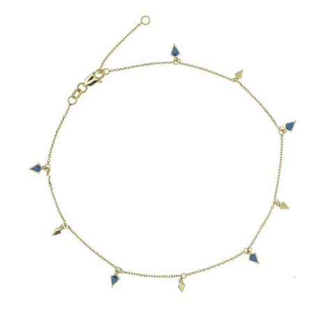 "14K Solid Gold 9 Pieces Dangle Triangle Anklet -Yellow 9""-10"" Adjustable"