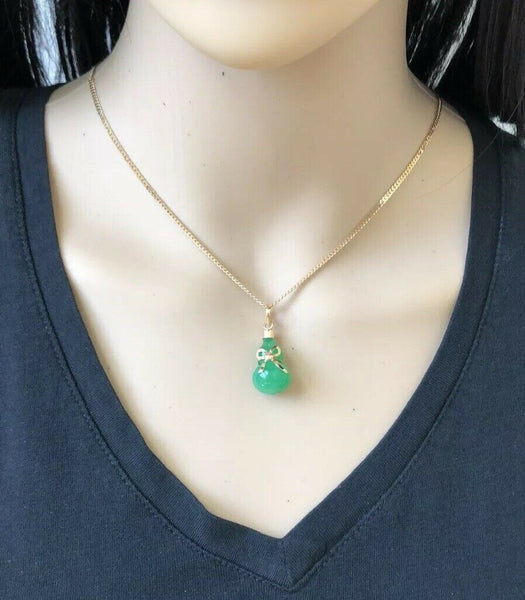 NWOT 18K Gold Bottle Gourd Green Jade Bow Pendant - ES33